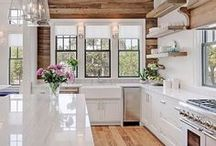 HOME DECOR / Home Decor | farmhouse style + open floor plan + neutral living room + bright white kitchen
