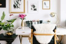 Office / home office, white and gold home office, office decor, feminine office