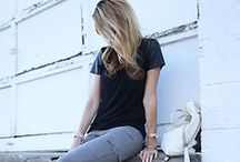 black tees / a simple black t shirt can play the perfect backdrop for a stunning skirt, necklace or trouser, or be used to finish off a simple, neutral look / by Anna Hart / South Molton St Style