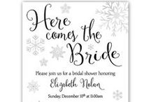 Winter Weddings + Bridal Shower Ideas / Beautiful ideas for a Winter Wedding Theme and Bridal Showers. Ideas include invitations, customizable invites, games, recipe cards, thank you cards with pretty wedding dresses, snowflakes, gowns, glitter, gold, pink, mint. Perfect for a winter theme event.
