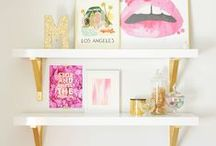 G's big girl room / Pink and gold decor with lots of storage and organized clutter.