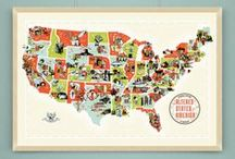 The Altered States of America / An illustrated map of America populated with the legendary events and characters from popular science-fiction, horror and fantasy. For all related products see http://chopshopstore.com/alteredstates.