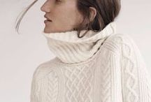 fashion | knits / knitwear, chunky pullovers and scarves