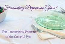 Depression Glass Patterns / Preserve history with the beautiful colors of glassware from the Depression Era for your table settings, kitchen, and home decor! The late 1920s through the Great Depression and into the early 1940s was a time when people had little money to spend. This beautiful pink, green, blue, or yellow glass dinnerware was often given away in detergent boxes or with a purchase of a movie ticket! You can even occasionally find a rare pattern or color like purple or even red!