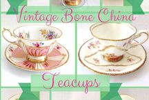Time for a Tea Party! / Collectible Bone China Tea Cups and Saucers from England, and vintage cups and saucers from America and other countries in Europe.