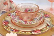 A Mix of  Vintage Dinnerware / Mix and match your vintage dishes and antique porcelain for an eye-catching Shabby Chic tablescape. You can find pottery and porcelain dinnerware, teapots, and serving bowls in many clever ways.