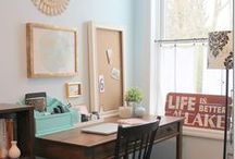 office & craft room ideas and decor / I work from home as a home decor and DIY blogger, so I'm always looking for beautiful home office and craft room ideas! Well, here are the best I've found on Pinterest! #office #homeoffice #DIY #interiordesign #WAHM #craftroom