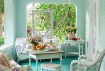 Swinging Porches / Nothing is better than a porch to sit and watch a rainstorm! Or to take a afternoon snooze! Or to serve iced tea to your neighbors! Or to swing on my favorite--a porch swing! / by Cindy Pickering
