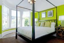 Modern Parisian Master Bedroom / Fruity colors (lime, berry, & tangerine) with black & white