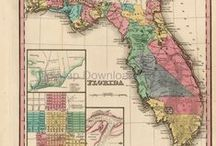 Florida Antique Maps / Antique maps of Florida show the dramatic changes in the states geographical and political situation over time. Vintage maps of Florida often show the growth of railroads, counties and cities in The State of Florida. Old maps of Florida, including antique maps of Miami, Orlando and Tampa can be found here.