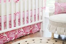 Modern Feminine Theme : Nursery Design Inspiration / Cream, white, and pink with white/birch modern furniture from Oeuf makes this nursery concept feminine and modern.  It is the best of both worlds and you will love how it all ties together to create a nursery you want to hang out in.