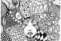 zentangle and doodle / Mainly black and white doodles and entangles pen on paper