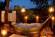outdoor bathing / Find thyself a quirky Air BnB in the mountains with an outdoor bathtub.  In the mornings, take out a cup of coffee and a book.  In the evenings, a bottle of wine and some candles.  There's simply nothing better!