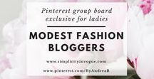 Modest Fashion Bloggers / A Pinterest group board exclusive for ladies! Promote your latest blog posts related to MODEST FASHION, independent of your belief (Islamic, Christian, Jewish or other). Make sure to support others by pinning their content as well. To get an invite, follow me on Pinterest @ByAndreaB and this board, send an email to andrea@simplicityinvogue.com with your Pinterest link! Tip: Vertical Pins work best! ♡ Happy Pinning! :)