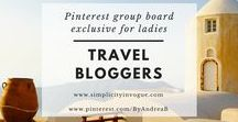 Travel Bloggers / A Pinterest group board exclusive for ladies! Promote your latest blog posts related to TRAVEL. Make sure to support others by pinning their content as well. To get an invite, follow me on Pinterest @ByAndreaB and this board, send an email to andrea@simplicityinvogue.com with your Pinterest link! Tip: Vertical Pins work best! ♡ Happy Pinning!