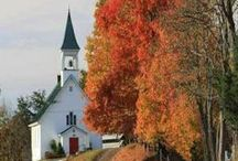 """Churches / The church (as beautiful and quaint as they are) is just a building...it is the people who gather together to worship God that make the church.   Matthew 18:20 NAS.....""""For where two or three have gathered together in My name, """"there I am in their midst"""". / by Linda Kullman"""