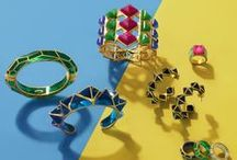 ISHARYA Pop Art Jewelry Lookbook / Shop our fun collection of color pops of quartz and enamel in pyramid shapes and harlequin prints. http://www.isharya.com/pop-art-art-collection-jewelry-loobook-by-isharya/