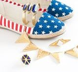 ISHARYA Patriotic Jewelry / Celebrate the 4th of July this summer with patriotic jewelry by ISHARYA, with pops of gold, red, white and blue.