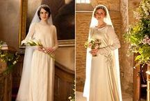 Downton Abbey Theme Wedding Inspiration / The glamorous Edwardian style weddings of the Downton Abbey ladies provide lots of inspiration for today's bride. From art deco and art nouveau jewelry to antique silver headbands and flowing veils, the 1920's Downton Abbey look will add glamour to your wedding day!  To see all our elegant, affordable bridal accessories, visit us at https://www.affordableelegancebridal.com.