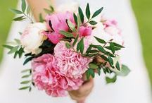 Wedding Bouquet Inspiration / pink/coral/mauve against cream/blush blooms with twining greenery, organic shape, texture. peony, cabbage rose. maybe astilbe, dahlia, anemone, poppy, ranunculus / by Laura Skelton // Block Party