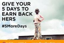 #5MoreDays / Millions of women and girls lose 5 days every month because they don't have what they need to manage their menstruation. This adds up to millions of days of lost school, work, and opportunity. Help earn back days for Girls around the Globe. How many lives can you give #5MoreDays to? Learn more about the #5MoreDays campaign: http://bit.ly/1XKv6s4