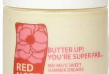 MEI MEI'S SWEET SUMMER DREAMS / Mei Mei's Sweet Summer Dreams fragrance collection:  Sweet Rose Milk Soap, Gentle Exfoliating Sugar Scrub, Lotion Potion No. 9, Ooh la la creme whipped souffle creme, Butter Up! You're Super Fab...uber-rich body butter, and le cube de parfum solid perfume
