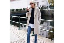 Favorite Fall/Winter Fashion / Wardrobe favorites for cold to wintry weather. Cozy layered looks. Wool coats and blazers, sweaters and knit jackets, scarves, hats, socks and tights, jeans, dresses and skirts.