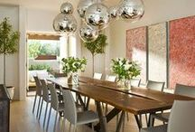 Dining Spaces / Stylish places to sit and share a fabulous meal with friends and family. Beautiful dining tables, comfortable chairs, bright pendant lights, practical and pretty shelving and storage. Clean, modern lines, high ceilings, wood beams.