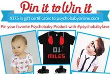 PSYCHOBABY PIN IT TO WIN IT CONTEST / STEP 1:  Follow us at https://www.pinterest.com/shop_psychobaby/  STEP 2:  Find your favorite Psychobaby Brand Product from this board   STEP 3:  Re-pin 1 or 2 of these product images onto one of your boards, wherever appropriate.   STEP 4:  Caption each photo you re-pin -Tell us why you love the item & tag it #psychobabyfave  1 Grand Prize = $200.00 Gift Card 3 Winners = 25.00 Gift Card  WINNERS CHOSEN 8/7/2015!  For complete rules & reg: http://www.psychobabyonline.com/psychobaby-pin-and-win/