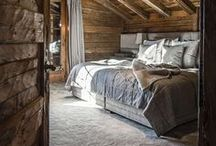 chalet style, rustic home, wood & stone