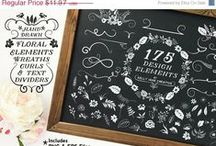 Chalkboard Graphics / Chalkboard Clipart Designs for Blogs, Websites, Stationery and Crafts