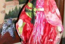Meus santos / customização de imagens de santos com tecidos, pintura, folha de ouro...