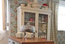 Kitchens, Shelves and Hutches / Decorating kitchens, wall and cupboard ideas, vignettes, hutch decorating / by Debbie Booth