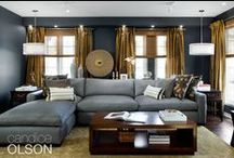 Living Room: Luxe Comfort / Luxurious color and stylish furniture make this 'everything room' a winner.