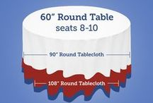 Table Linens Sizing Guides / Find the right tablecloth for your event tables!