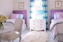 Addison Bedroom / Addison wants a purple & turquoise/teal bedroom.  NO FLORAL patterns, but likes graphic patterns. A new bed with layered bedding, curtains, rug, art & accessories are needed.  She's not willing to give up the ceiling fan!  Haha / by Stephanie Stevens