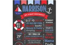 Nautical Birthday Party / Nautical Birthday Party Birthday Chalkboard Sign Favorite things sign Nautical party Boy party theme