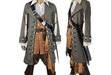 Pirates of the Caribbean costumes / Pirates of the Caribbean captain hector Barbossa, Will Turner cosplay costume outfit.