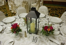 Tablescapes: Twilight Theme  / Lanterns with flickering candles, wrought iron candleabras with hanging votives, glass cylinders with underwater lights, and of course gorgeous flowers.