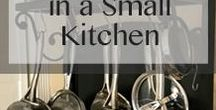SMALL HOUSE | Kitchens / Inspiration for my small kitchen in my urban cottage. small kitchen | small kitchen storage | small kitchen design | small kitchen appliances | small kitchen counters | small kitchen cabinets | small kitchen shelving | small kitchen decor.