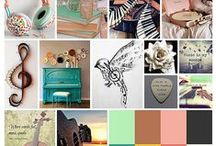 music / Classical music. Reflective, relaxing. String instruments. Learning to play. Soft, serene colours. Textures including metallic and woodgrain. Images instruments, music notes, associated word art.