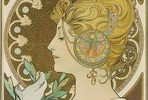 "Mucha / Living in Prague exposed us to the art of Alphons Mucha. Mucha's works frequently featured beautiful young women often surrounded by lush flowers. In contrast with contemporary poster makers he used pale pastel colors. His ""Mucha Style"" eventually became the Art Nouveau movement."