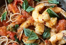 {Seafood} Shellfish / Recipes with shellfish as the primary protein (shrimp, prawns, craw/crayfish, langostino, crab, lobster, scallops, oysters, etc.). See also: Seafood, Fish, Recipes, Soups / by Mary Eichman