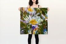 """%__Square Silk Scarves__% / Measures 26"""" by 26"""".Made from 100% silk Habotai. Digitally printed with Nano Pigment inks. Safe for the environment and children. Finished with a rolled hem. Via ArtofWhere.com"""