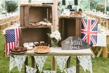 "Wedding Trend - Home Town Glory / Weddings that tell your story are big news and we love it when couples bring in elements of their hometown to their wedding day. A romantic Sperry Tent reception with a day filled with African touches, bespoke flags and flowing curtains, trans-Atlantic unions with cute flags and nostalgic food choices like a milk and cookies ""cake"", and a Yorkshire allotment wedding complete with edible veggie plot platters, have really warmed our hearts."