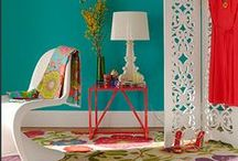 T- Turquoise & Red Decor: Lake House / Primary & Secondary colours work so well together. For Example: Turquoise, Aqua & Red! These two colours are often featured in the style termed: Chinoiserie. / by Muddy Paws Art Studio 🎨