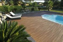 Pool Decks - Fiberon Composite Decking / Here's a collection of pool deck ideas using Fiberon composite decking. Fiberon products are an excellent choice for pool decks. You don't have to worry about splinters or stubbed toes on popped nails. Plus, you never have to restain or repaint.   Please always refer to Fiberon installation instructions. Proper installation will result in a better looking finished project and will assure you that your material is fully warrantied.