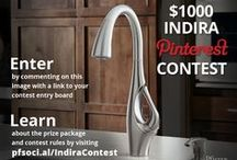 "Pfister's Indira Pinterest Contest / This Indira-inspired prize package was specifically curated by the Pfister Industrial Design Team to complement the ""Familiar by Unexpected"" contemporary design of the Indira faucet – the new centerpiece of the kitchen. This contest is closed, but please visit http:/www.blog.pfisterfaucets.com for more contests and giveaways!"