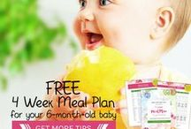 Baby's First Meal Plan / Free 4 week meal plan on how to transition your 6-month-old to solids that includes: List of perfect first foods, Meal plans for purees and Baby Led Weaning (BLW), and sample schedule with recipes for homemade baby food.