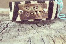 Leather Bracelets / Features custom leather cuff with sentimental phrases. Visit www.sillyhappysweet.com to customize yours.